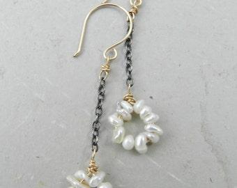 White Freshwater Keishi Pearl Circles Drop Chain Earrings - Mixed Metal Dangle