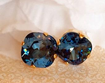 Best Fall Earrings - Navy - Crystal Stud Earrings - Swarovski - JOLIE Navy