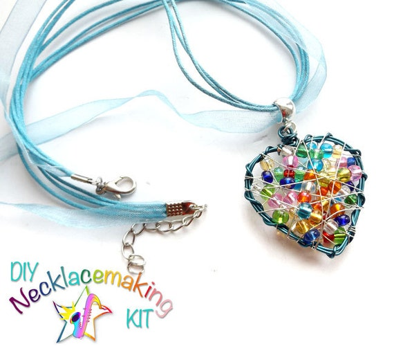 DIY Necklace Kids Craft Kit Rainbow Heart necklace kit DIY