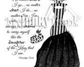 BOGO- REGAL- Natural Hair Fashion Illustration Black and White Art Print