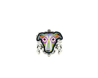 Greyhound - Whippet - Day of the Dead Sugar Skull Dog Adjustable Ring