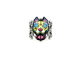 Slobbering Pit Bull Ring - Day of the Dead Sugar Skull Dog - Adjustable Antiqued Silver Filigree Ring