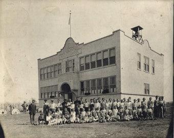 Funny Photo Bomb, Maintenance Man, Vintage Black and White School Photo, 1920s South High School in Hermiston Souvenir
