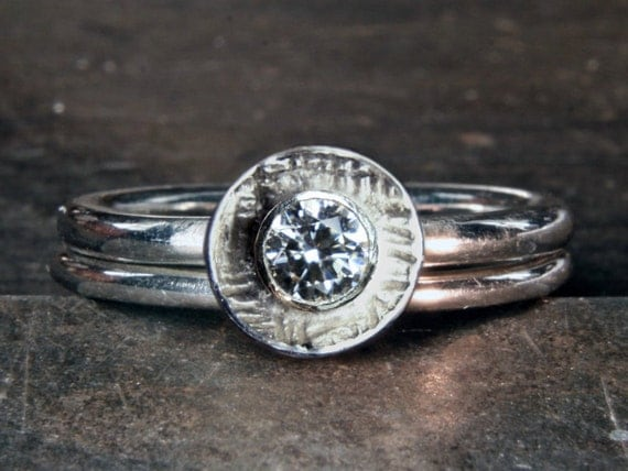 Wedding & engagement ring set, recycled sterling silver solitaire 1/4ct ethical lab grown diamond or moissanite. Handmade in the UK