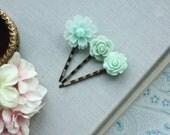 Mint Floral Hair Pins Mint Wedding Hair Clips Shades of Ivory and Mint Flower Hair Pins Floral Hair Pins Set of Five 5 Hair Pins Bridesmaids