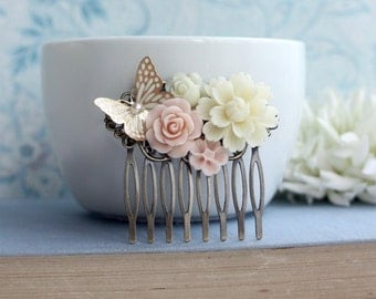 Butterfly Hair Comb, Pink and Gold Wedding, Bridesmaids Gift, Hair Accessories, Butterfly Flower Collage Comb, Country Chic Blush Pink Comb