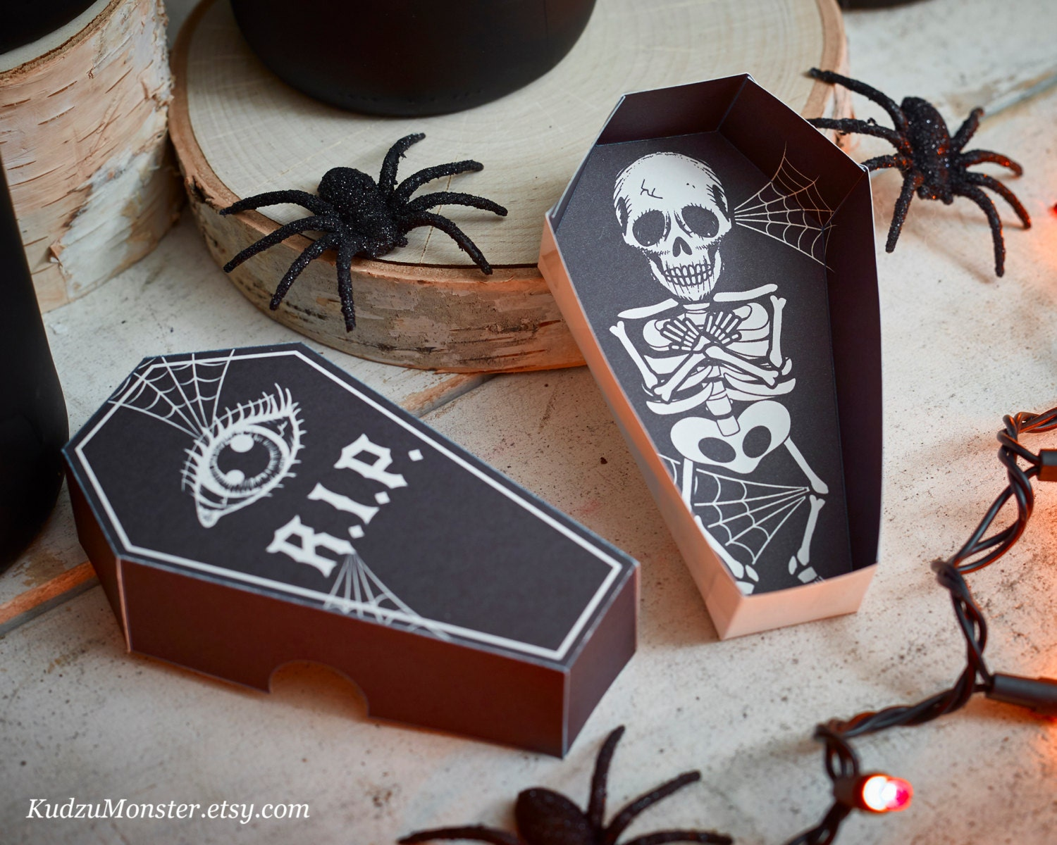 Halloween printable coffin party favor boxes DIY containers