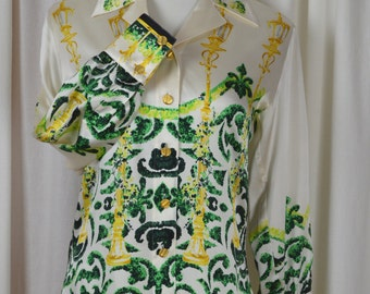 Vintage Blouse, Silk Blouse, Escada Blouse, Designer Blouse, 80s Fashions, White Blouse, Button Down Blouse, Gold Buttons, Size XS