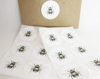 Bee Stickers Labels Scientific Illustration Eco-Friendly Envelope Seals Set of 12 QueenBeeInspirations