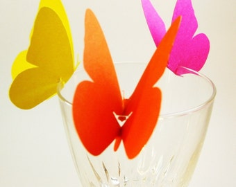 Butterfly Wine Glass Toppers set of 50 Customizable In White or Colored Eco Friendly