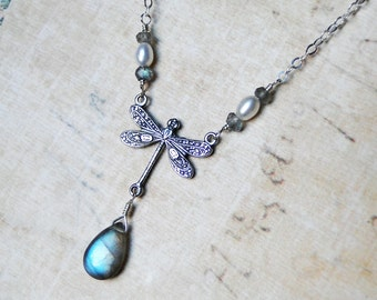 Labradorite Necklace, Dragonfly Necklace, Sterling Silver - Dragon's Dive by CircesHouse on Etsy