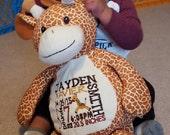 Personalized baby gift, birth announcement, best gift ever, plush, stuffed animal, giraffe, Original Embroider Buddy, keepsake, subway art