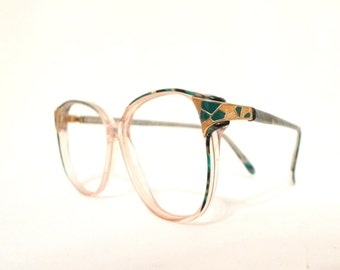 Cloisonne Mod Eyeglass Frame 80s Eyewear Marbled Green Blue Pattern Preppy Round Disco Eyeglasses Bug Eye Sunglasses Sunnies P3 sale