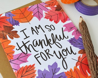 I'm so thankful for you, Happy Fall seasonal Folded greeting card, Autumn, Stationery, Hand Drawn, Illustration, Thanksgiving, note card