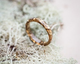 Thin Brown Stacking Resin Ring Skinny Ring Gold Flakes Size 5 Faceted Ring OOAK minimal chic