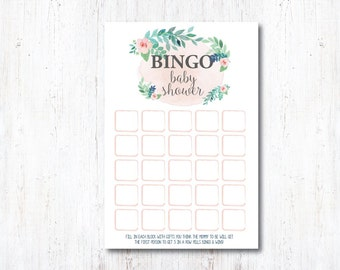BINGO Baby Shower Printable | INSTANT DOWNLOAD | Rustic Floral Baby Shower Game | Pink Bridal Shower Decoration | Watercolor