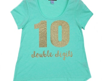 Girls Glitter Shirt, Girls Personalized Shirt, Tween Girls Shirt, Girls Sparkle Shirt, Double Digits Birthday Shirt, Tenth Birthday