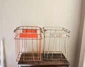Vintage Industrial Egg Crate Basket Red Stainless Silver