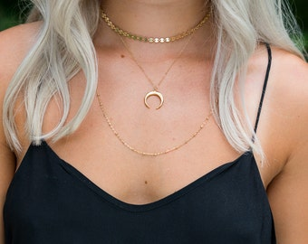 Layered Necklace Set | Choker Necklace Set | Gold or Silver Necklace Set