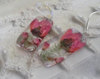 Pink Boronia,Pink Heather Pressed Flower Glass Rectangle Leverback Earrings-Nature's Art-Symbolizes Solitude,Admiration-Gifts Under 25