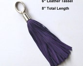 Genuine Leather Tassel - 6 inch fringe-  Purple Suede Bag Bling -  Made in Hawaii