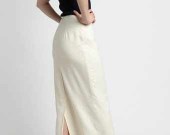 Vintage 90s Ivory Raw Silk Long Straight Midi Skirt | 6