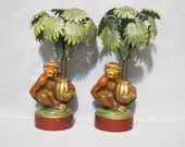 Vintage Cast Metal Monkey Figurine Palm Tree Candle Holders Set of 2 by Petites Choses USA / Animal Sculpture Candlestick Beach House Decor