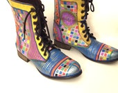 Magical HandPainted Leather Boots Whimsical Colorful Design Size 8