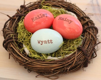 Custom names nest, Mothers family nest, Personalized eggs, Names and Birthdates, children's birth date eggs