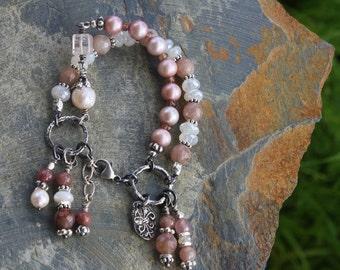 RARE Kunzite, Chalcedony & Pearl Bracelet, Handmade Wearable Art Wedding Bling, Extreme Dangles Handcrafted Artisan Sterling Silver Bracelet