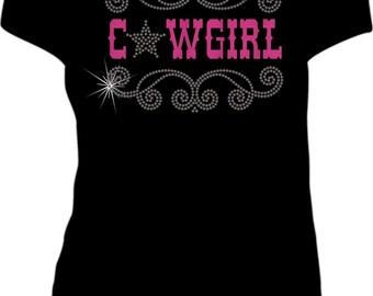 T-Shirt, Women's Short Sleeve Cowgirl Rhinestone and Glitter Design LAT Ringspun Cotton