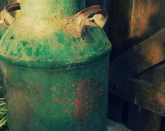 Rusty Antique Milk Can Photography. Painted Chippy Rustic Farmhouse Country Home. John Deere Green. Instant Digital Download