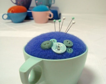 Pincushion Texas Ware Melmac Teacup Indigo Purple Wool, Green Cup