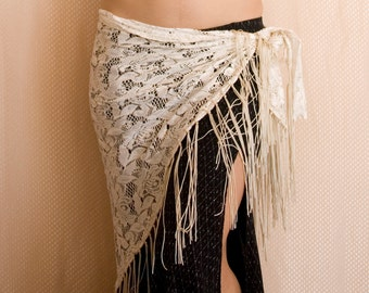 White-Gold Lace Hip Scarf - Offwhite with gold shine Tribal Fusion Bellydance Fringe hip shawl, ATS, flapper, festival hipscarf