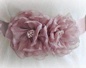 Dusty Rose Bridal Sash, Rose Gold, Pink Flower Wedding Belt, Mauve Wedding Belt, Silk Organza Flowers - SARAFINA