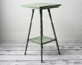 Vintage Parlor Table in Old Green Paint