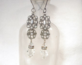 1920s Art Deco Dangle Earrings, Antique French Paste Assemblage Earrings, Vintage Gray Patina Sterling Silver Bridal Earrings Gatsby Flapper