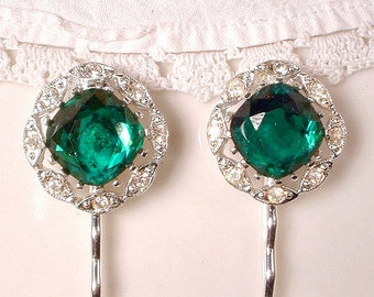 Pair Vintage Art Deco Emerald Bridal Hair Pins, Green Crystal Rhinestone Gatsby Wedding Bobby Pins, Keepsake Hair Clips 1920s Hair Grips