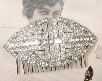 Antique 1920s Bridal Hair Comb, Art Deco Pave Rhinestone Crystal Large Hairpiece, Old Hollywood Glamour Headpiece, Gatsby Wedding Hair Piece