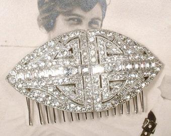 Vintage 1920s Bridal Hair Comb, Art Deco Pave Rhinestone Crystal Large Hairpiece, Old Hollywood Glamour Headpiece, Gatsby Wedding Hair Piece