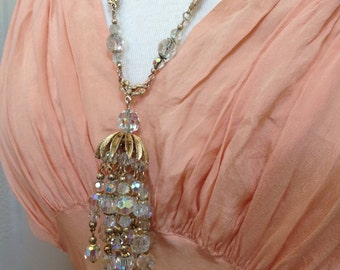 Vendome Crystal Necklace Earrings Demi Parure – AB Crystals 1950s Jewelry