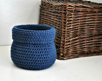 Blue Basket Catchall Storage Bin Modern Decor Contemporary Design Custom Colors