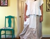 Plus size tulip quirky linen cotton fray textured pleated ruched tucked tappered neutral maxi long skirt boho beach asymmetrical balloon