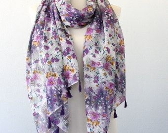Purple scarf floral scarf printed scarf scarves for women bohemian scarf tassel scarf cotton fashion scarf reversible scarf gift for her