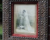 Antique VICTORIAN Lovely BRIDE in Compo ACORN & Leaves Picture Frame 8 x 10 c1880s