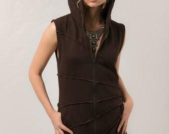 Pixie Hood Cotton Fleece Vest - Magic Elf  Vest - Cozy  Winter Wear - Star Burst Hoodie Waist Coat - women's clothing - burning man -