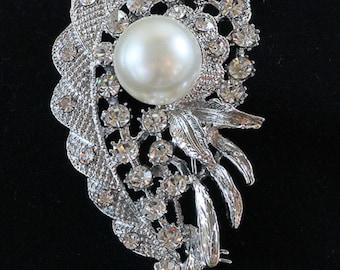 Rhinestone & Pearl Brooch, Flower Pin, Lapel Brooch, Hat Pin, Vintage Style Brooch, Fancy Brooch 10-15