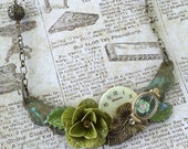 Time to Bloom Assemblage Necklace steampunk watch necklace, mixed media necklace, watch necklace, Vintage watch necklace