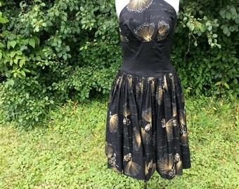 Vintage 1950s Alfred Shaheen Dress // 50s Halter Full Skirt Tiki Hawaiian Sundress // Vintage Cotton Sundress // Plus Size Large