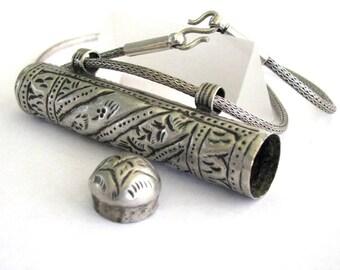 "Antique Islamic, Silver Prayer Box, Talisman, Koran Scroll Container, 56cm (22""), 3mm Silver Snake Chain, Pashtun, Ethnic Tribal, 41.8 Grams"